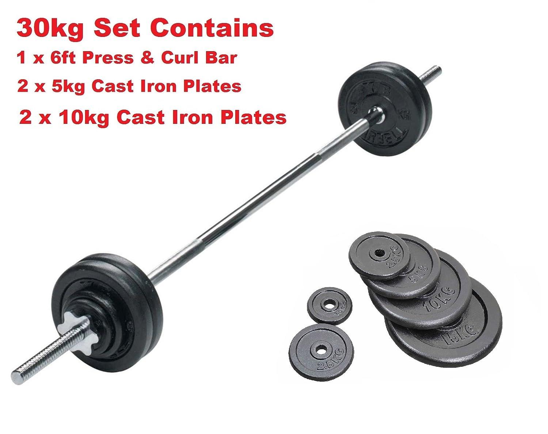 EZ-Langhantel-Set, 33kg, 122cm, Verschlussschrauben mit 2,5cm Durchmesser und Vinyl-Gewichtscheiben
