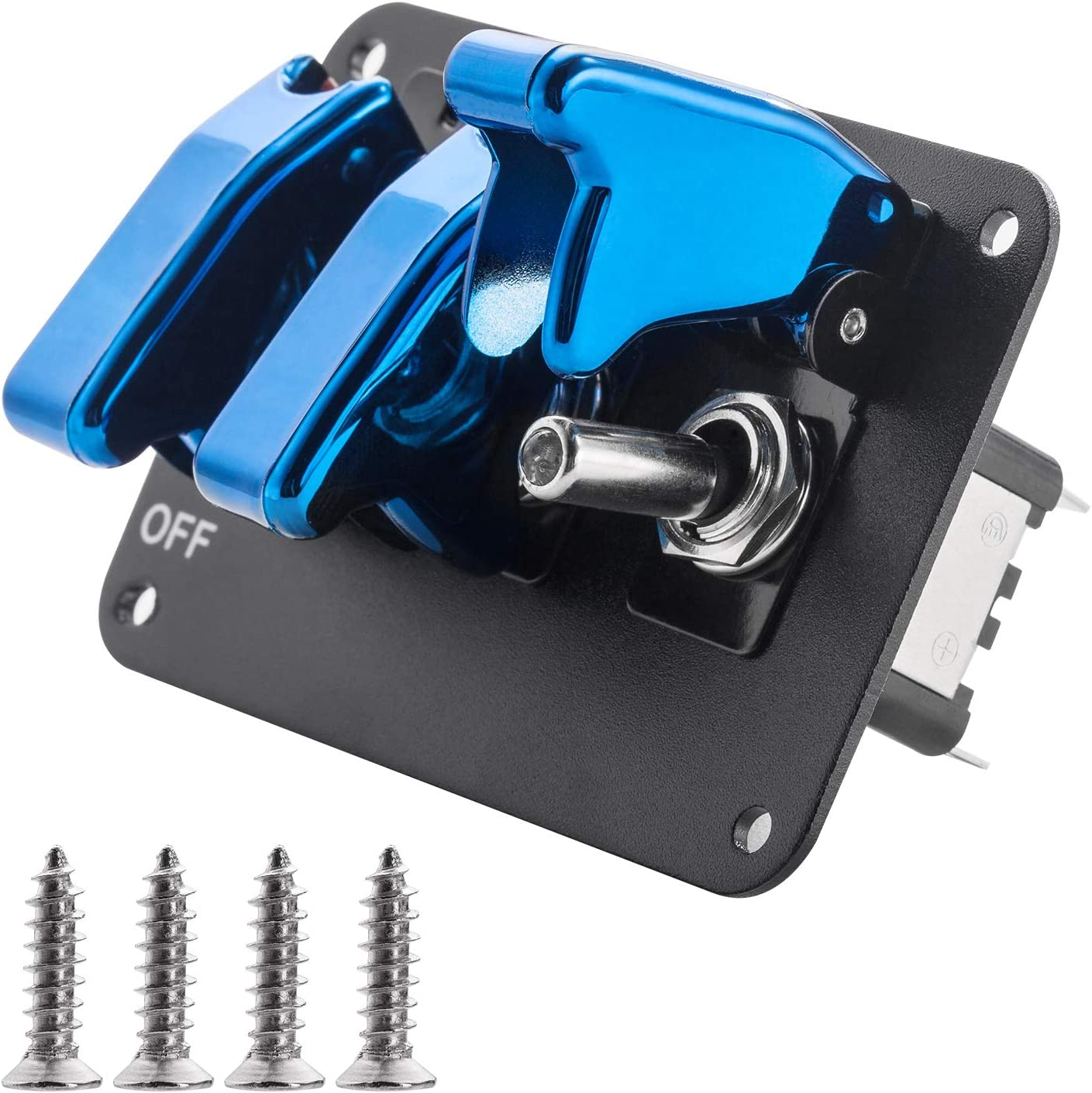JIANFA Toggle Switch Panel,Universal Car 12V Ignition Switch 3 Row BLUE Plating Cover Anodized Surface Panel Toggle Switch For Racing Sport Competitive Car