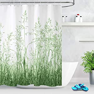 LB Wild Plant Green Floral Shower Curtain Spring Mint Green Leaves Grass Pattern Botanical Bathroom Curtain Watercolor Country Nature Art 60x72 Inch Polyester Fabric with 10 Hooks
