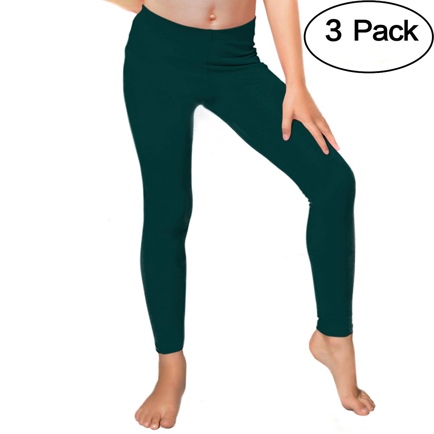 Stretch is Comfort Girl's Set Of 3 Cotton And Metallic Footless Leggings L3002CSET-$P