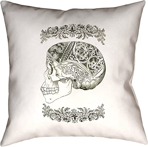 Black Skull Pillow Blue ArtVerse Katelyn Smith 14 x 14 Cotton Twill Double Sided Print with Concealed Zipper /& Insert Red