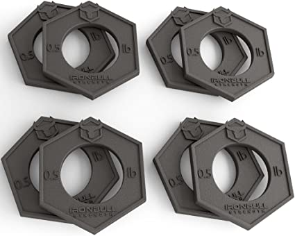 Olympic Fractional Plates Mirco Weight Set of 8 x 0.5 lb Plates for Barbell or Dumbbell with 2 Free Collars HULK