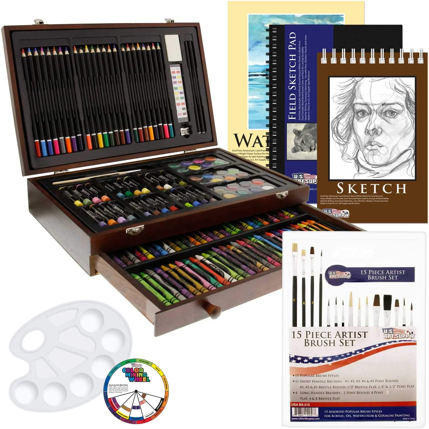 US Art Supply 162 Piece-Deluxe Mega Wood Box Art, Painting & Drawing Set That Contains All The Additional Supplies You Need to get Started
