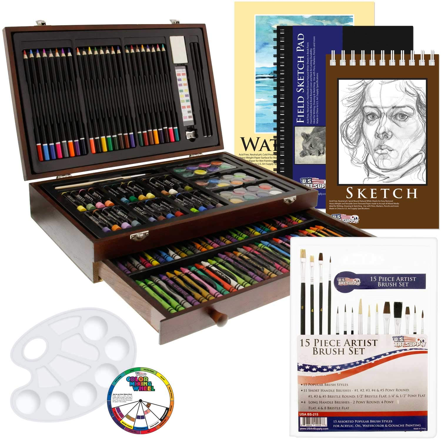 US Art Supply 162 Piece-Deluxe Mega Wood Box Art, Painting & Drawing Set That Contains All The Additional Supplies You Need to get Started. by US Art Supply
