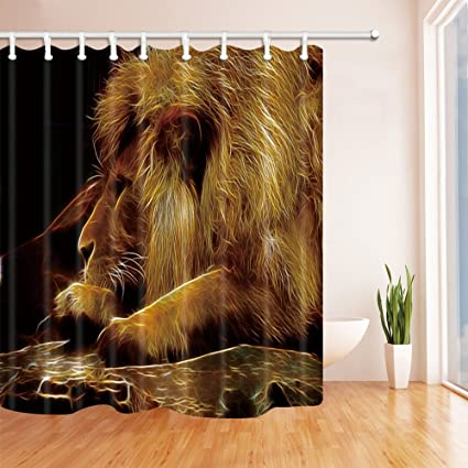 Amazon.com: NYMB Animals Decor, Creative Lion Head in Black Shower ...
