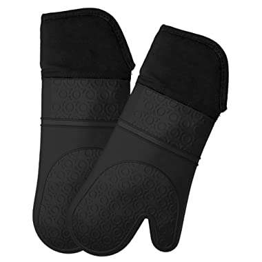 Homwe Extra Long Professional Silicone Oven Mitt - 1 Pair - Kitchen Oven Mitts with Quilted Liner - Black
