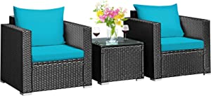 Tangkula 3 Pieces Patio Furniture Set, PE Rattan Wicker Sofa Set w/Washable Cushion Cover and Tempered Glass Tabletop, Outdoor Conversation Furniture for Garden