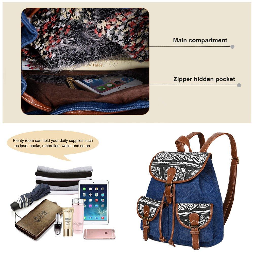 Vbiger Canvas Backpack for Women & Girls Boys Casual Book Bag Sports Daypack (Elephant Black1) by VBIGER (Image #6)