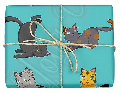 Papel de regalo para gatos de yoga, diseño bonito para baby shower, cumpleaños de