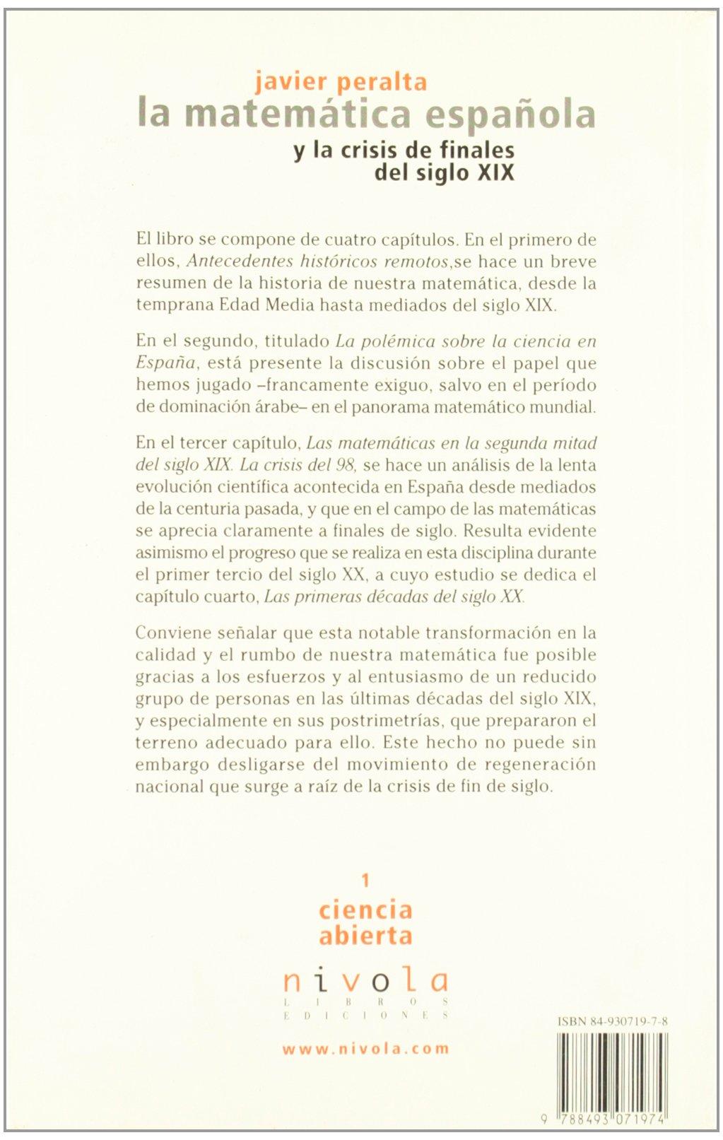 La matemática española y la crisis de finales del siglo XIX ...