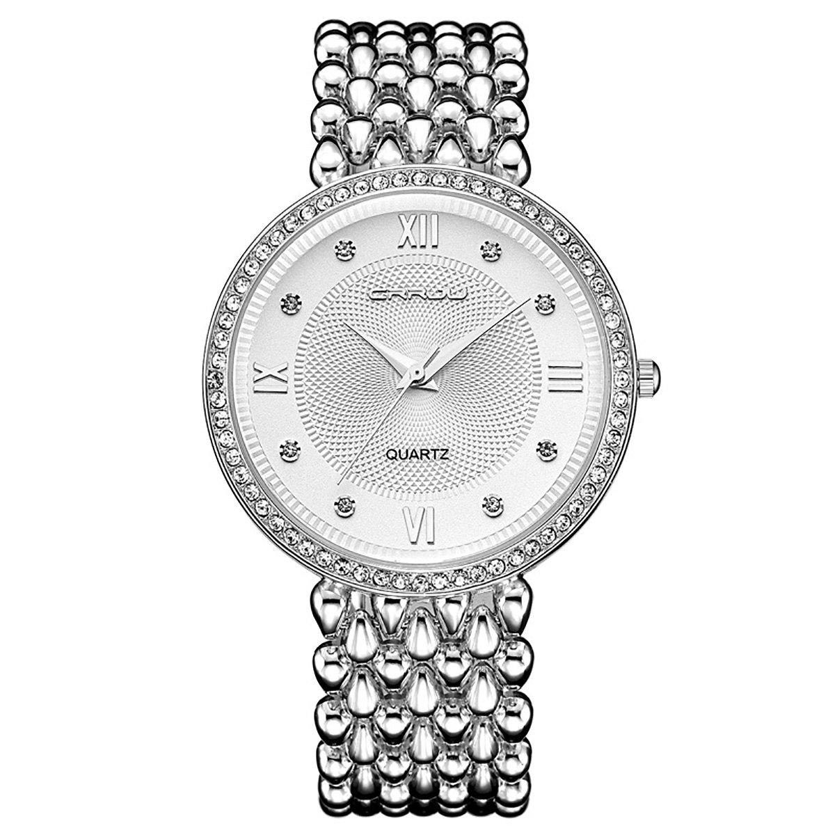 modiwen Fashion Trend Diamant Luxus Frauen Kleid Uhren, Golden Silber Frau ursächliche Wasserdicht Armbanduhr Armband silberfarben