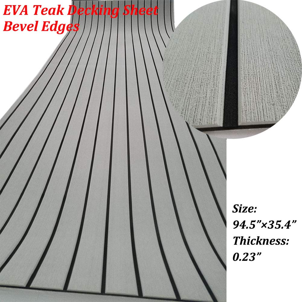 yuanjiasheng Second Generation Upgrade EVA Faux Teak Decking Sheet For Boat Yacht Non-Slip 94.5''× 35.4'' Bevel Edges (light grey with black lines)