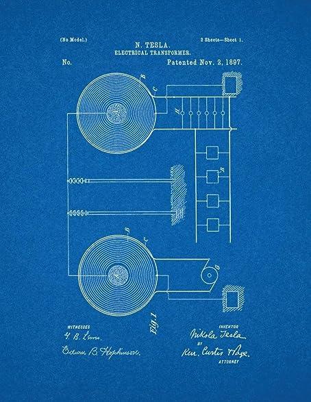 Amazon tesla electrical transformer patent print art poster tesla electrical transformer patent print art poster blueprint 24quot malvernweather Images