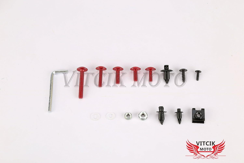 clip in alluminio CNC VITCIK Kit completo di carenatura viti bulloni per ZX6R ZX-6R Ninja 636 2007 2008 07 08 Serraggio per moto Argento