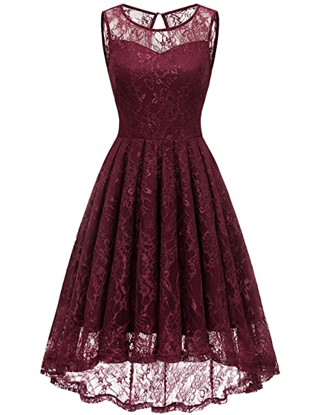 Gardenwed Womens Vintage Lace High Low Bridesmaid Dress Sleeveless Cocktail Party Swing Dress