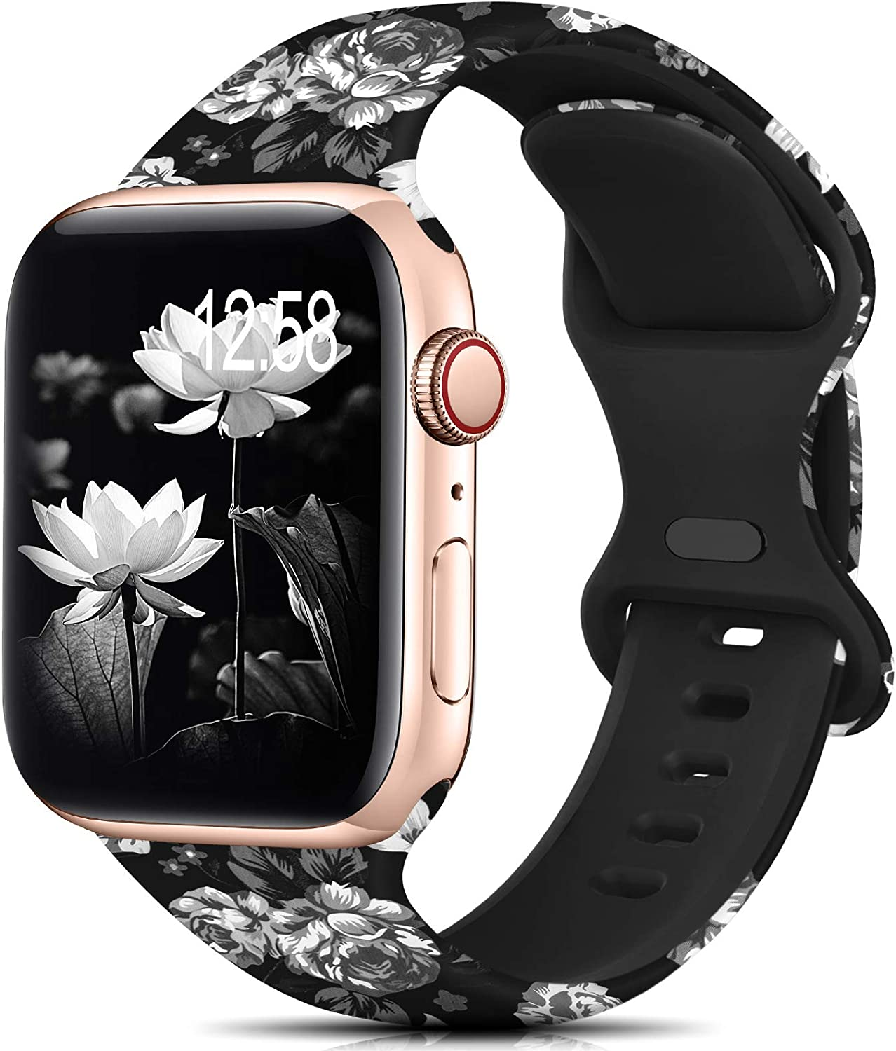 Sport Bands Compatible with Apple Watch Bands 38mm 40mm 42mm 44mm Size for Women Men,Floral Silicone Printed Fadeless Pattern Bands for iWatch Series 6 5 4 3 2 1 SE