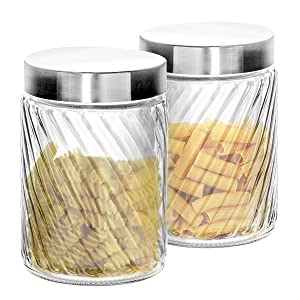 "Klikel Glass Canister | Set of 2 Kitchen Containers With Lids | Tight Seal For Flour Sugar Pasta Cereal | Capacity 37oz / 1100ml 4.25""x6.5""h."