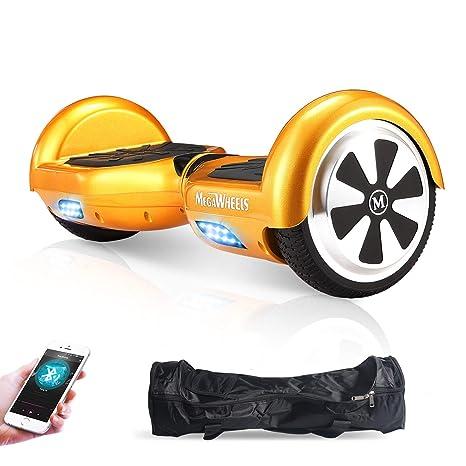 M MEGAWHEELS Scooter-Patinete Eléctrico Hoverboard, 6.5 Pulgadas con Bluetooth - Motor eléctrico 500w, Velocidad 10-12 Km/h. (Gold)