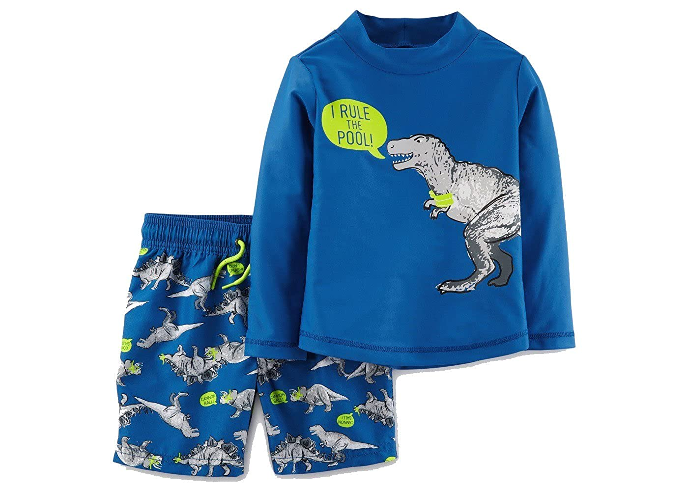 Just One You by Carters Toddler Boys' Dinosaurs Rule The Pool Long Sleeve Rash Guard Swim Set Blue