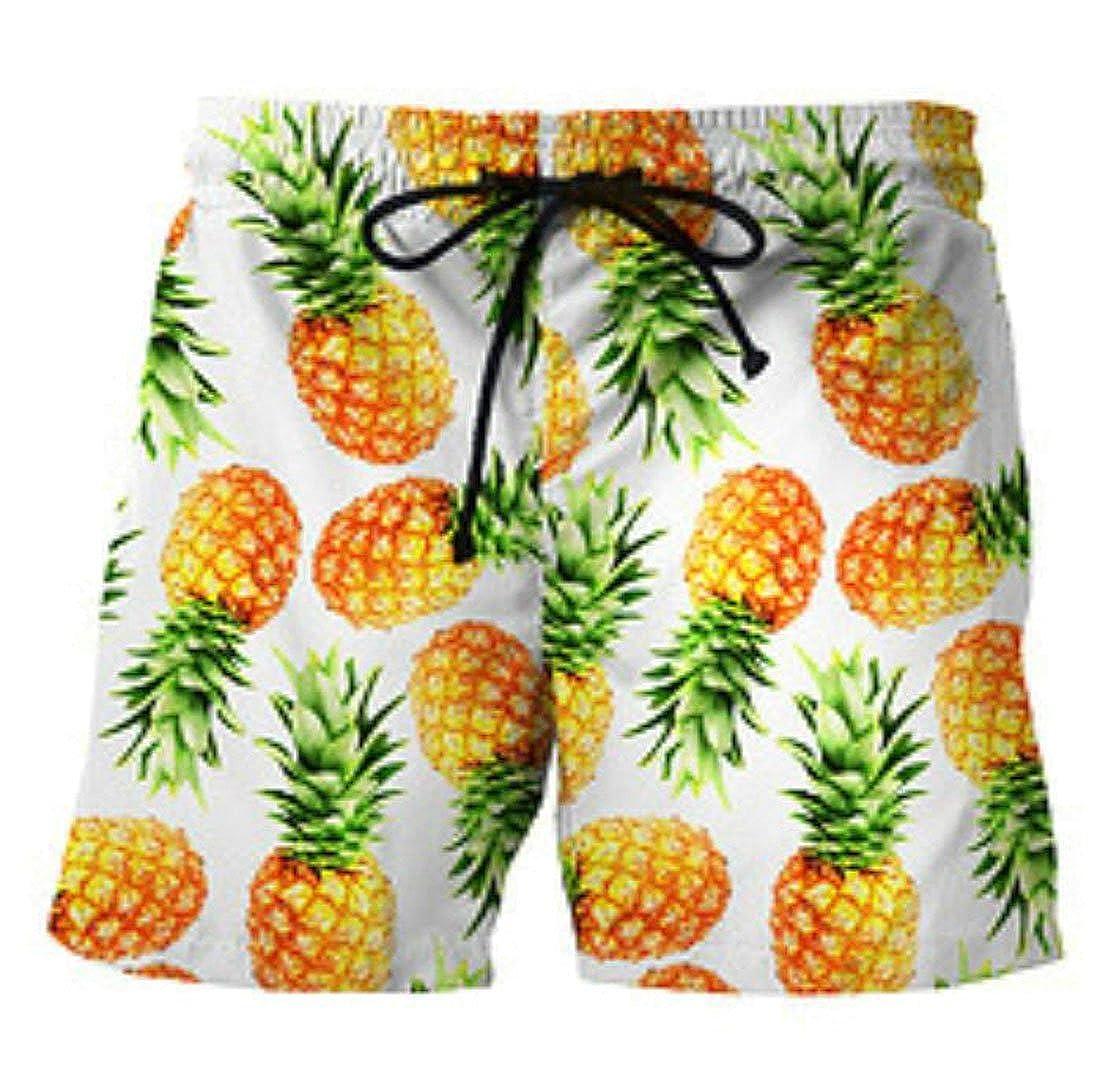YYear Men Trunks Boardshorts Sports Drawstring 3D Printed Shorts Pants