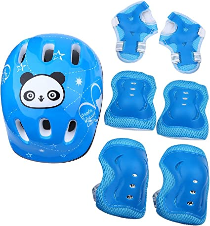 Kids Girls Panda Skate Cycling Bike Safety Helmet Knee Elbow Pad Protective Set