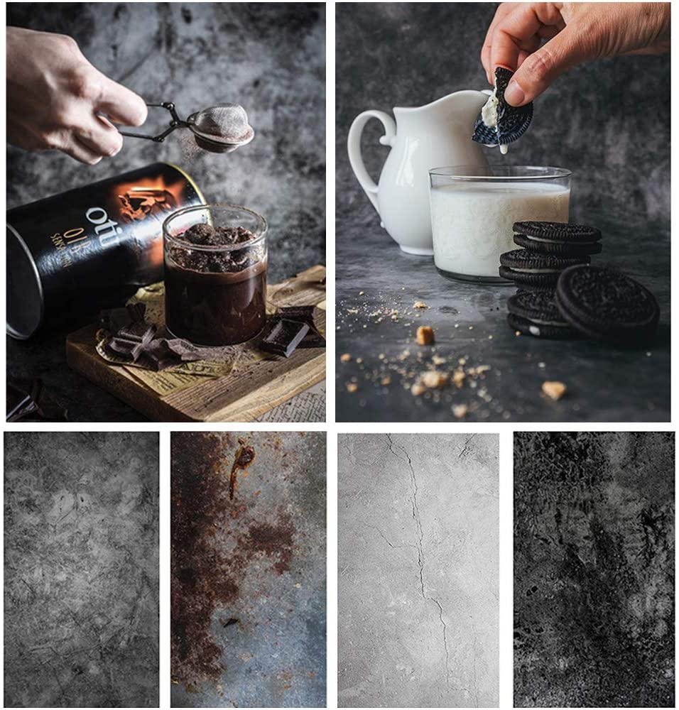 Bcolor Food Photography Backdrop Paper Concrete 2 Pack 22x35Inch/ 56x86cm Black Photo Background Double Sided for Flat Lay Product Photoshoot Tabletop Pictures Props, 4 Pattern