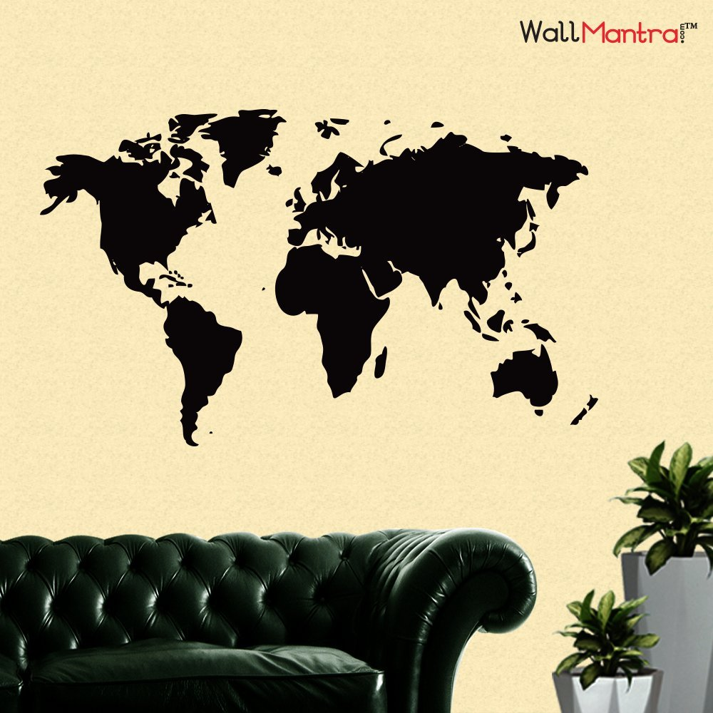 WallMantra World Map Wall Sticker for Office Large/Self Adhesive ...