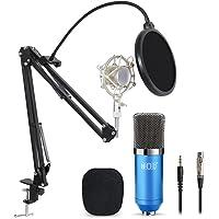 Tonor Microphone à Condensateur Podcasting Studio Enregistrement pour Ordinateur avec Microphone Réglable Suspension Perche Ciseaux Bras Microphone Kits Bleu
