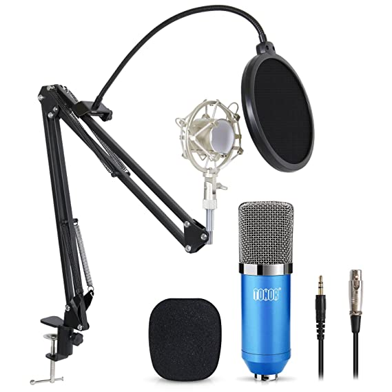 Review TONOR Professional Studio Condenser Microphone Computer PC Microphone Kit with 3.5mm XLR/Pop Filter/Scissor Arm Stand/Shock Mount for Professional Studio Recording Podcasting Broadcasting, Blue