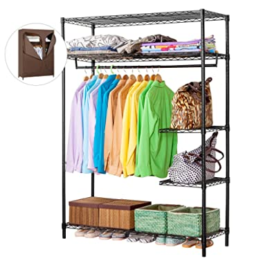 LANGRIA Heavy Duty Wire Shelving Garment Rack Clothes Rack, Portable Clothes Closet Wardrobe,Compact Zip Closet, Extra Large Wardrobe Storage Rack/Organizer, Hanging Rod,Capacity 420 lbs, Dark Brown