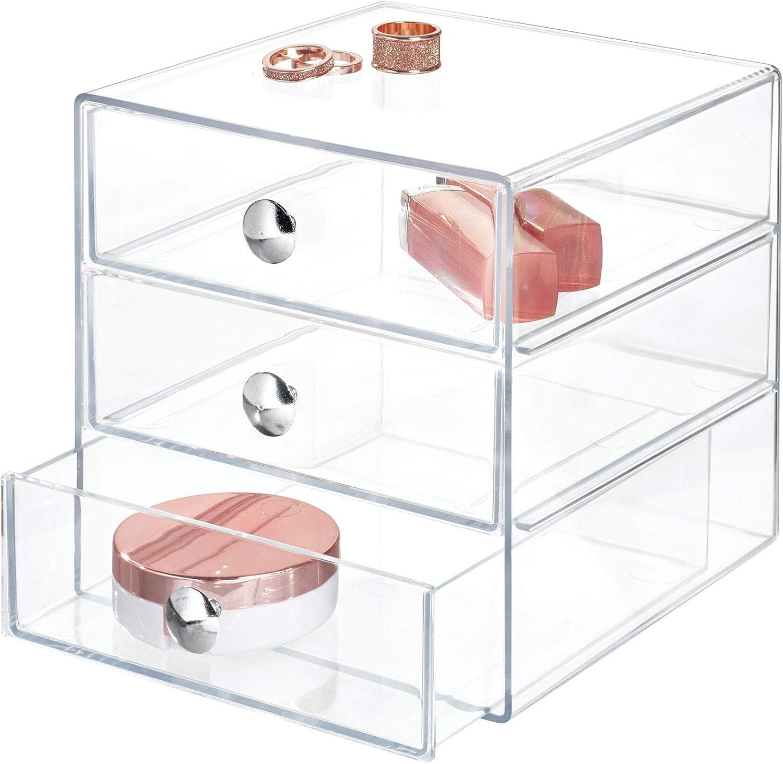 iDesign Organizador de maquillaje con 3 cajones, compacta minicómoda de plástico, mini cajonera cuadrada para productos de belleza y cosméticos, transparente