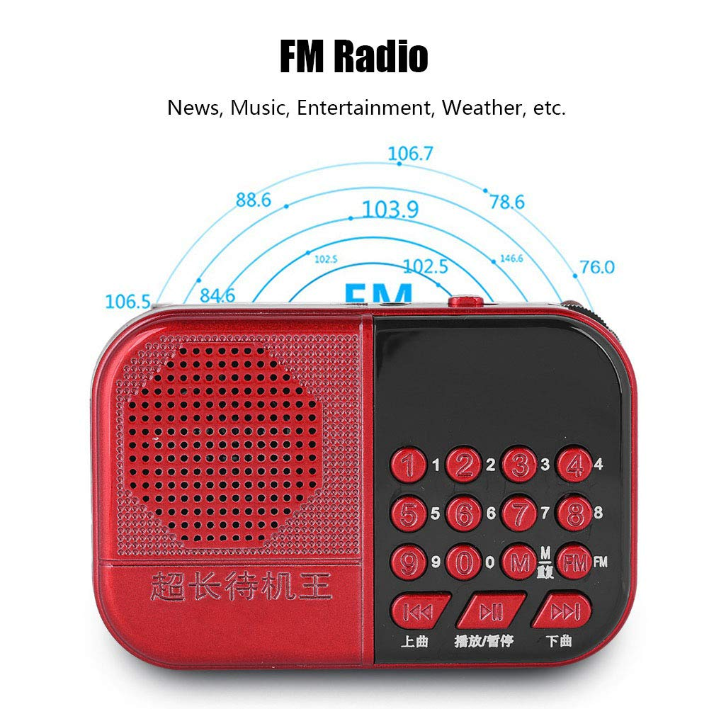 fosa Portable Mini FM Radio, Noise Cancelling Stereo Speaker Music Player Build in USB/TF Card Slot with LED Display, One-Button Searching MP3 Player Radio