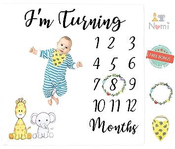 "Soft Large 47/""x47/"" Baby Monthly Milestone Blanket For Newborn Boy /& Girl Cute"