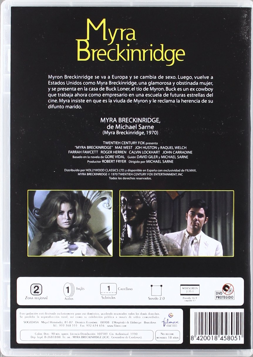 Myra Breckinridge [DVD]: Amazon.es: Mae West, John Huston, Raquel Welch, Michael Sarne: Cine y Series TV