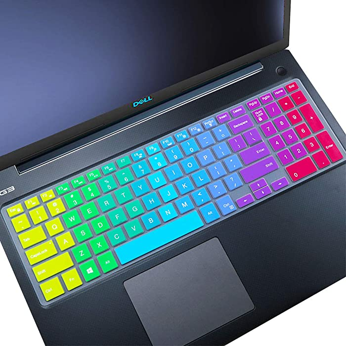 Keyboard Cover fit Dell Inspiron 15 3000 5000 Series/New Inspiron 17 3000 Series/Insprion 17 7786 /Dell G3 15 17 Series/New Dell G5 15 Series/Dell G7 15 17 Series- Rainbow