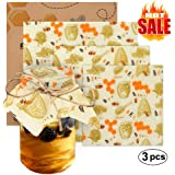 Beeswax Food Wraps Reusable, Eco Friendly, 3 Pack and All Natural, Sustainable, Environmentally Friendly, Great For Kids School Lunches and Covering Food in Containers, Pack of 3 , 1 Large , 1 Medium , 1 Small