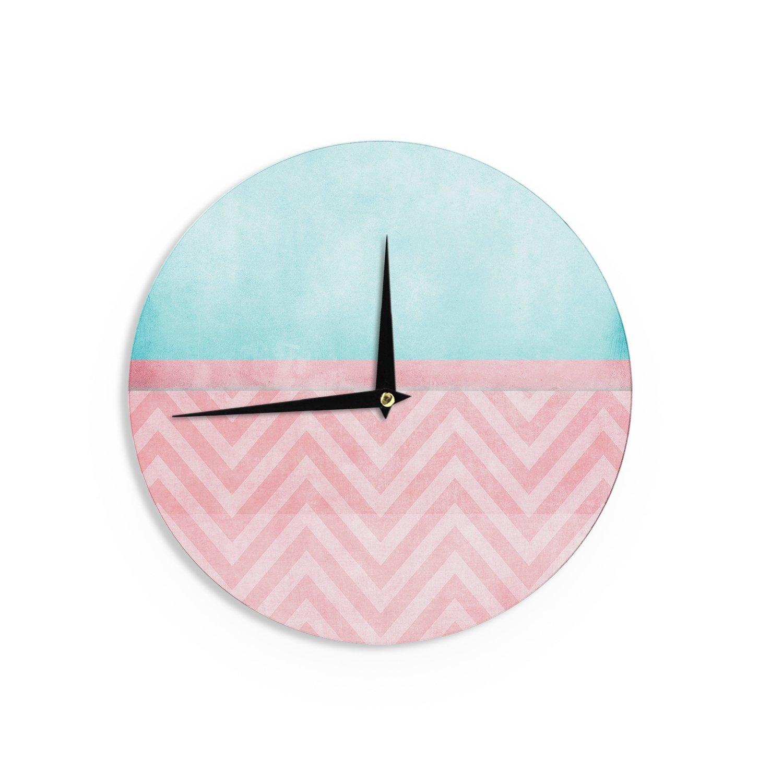 Kess InHouse Ingrid Beddoes Light Chevron Pink /& Turquoise Blush Aqua Wall Clock 12