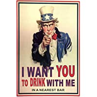 Placa Decorativa I Want You to Drink With Me Kapos Multicolorido 20X30cm