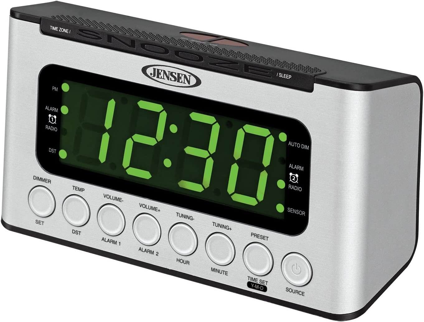 JENSEN JCR-231 Digital AM/FM Dual Alarm Clock Radio with Wave Sensor