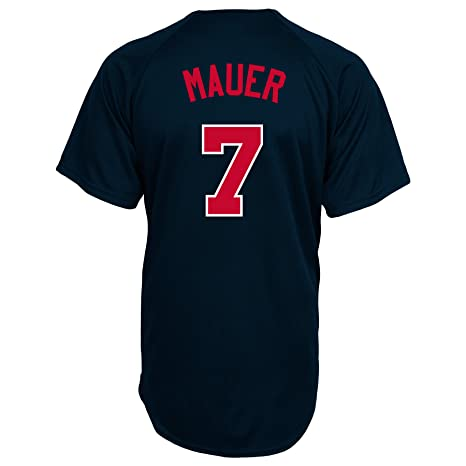 8159ded2 MLB Minnesota Twins Joe Mauer Full Button Down Synthetic Replica Batting  Practice Jersey,Large