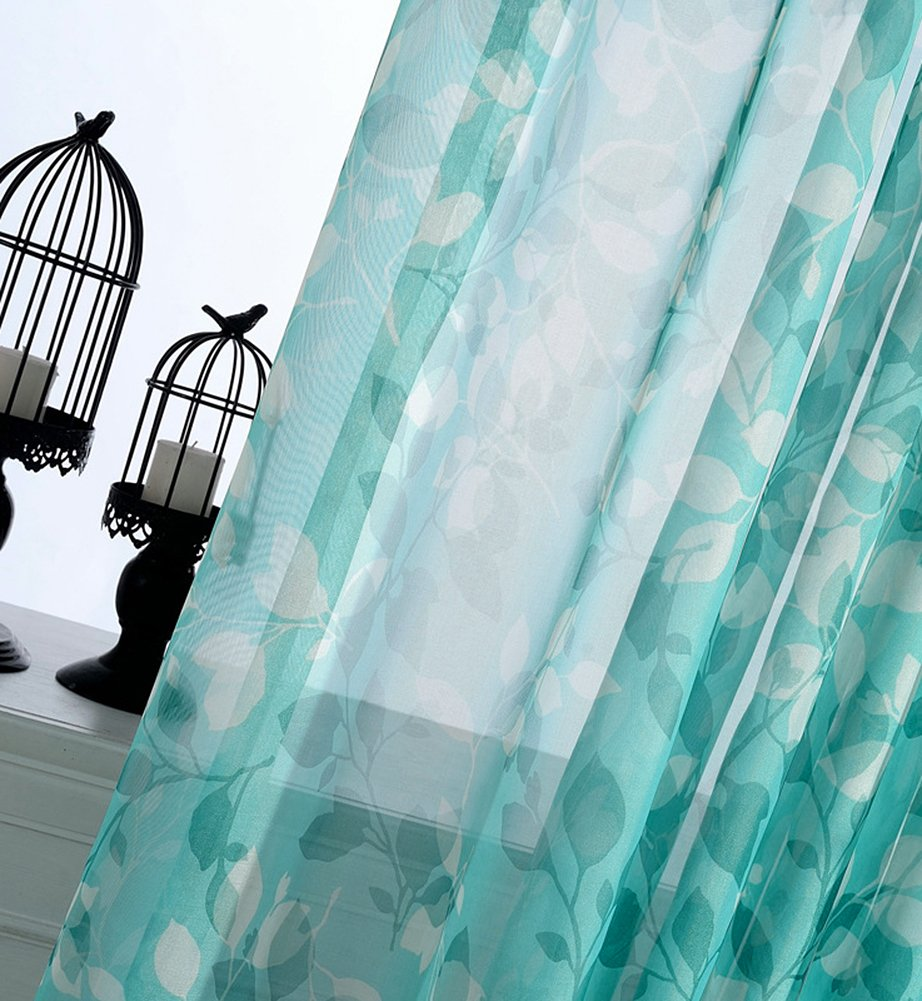 1 Panel, W 50 x L 84 inch, Turquoise Aside Bside Modern Style Floral Printed Rod Pocket Top Sheer Curtains Voile Draperies Elegant Door Home Treatment for Kitchen Houseroom and Children Room