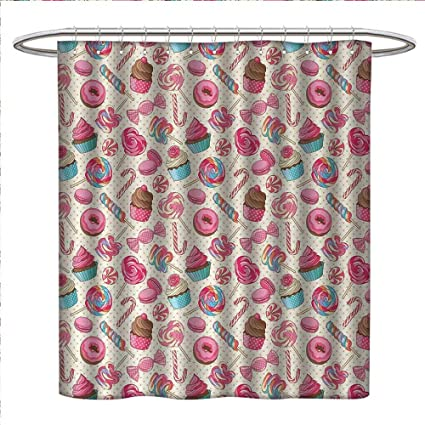 Anniutwo Candy Cane Shower Curtains 3D Digital Printing Yummy Sweet Lollipop Macaroon Cupcake And Donut