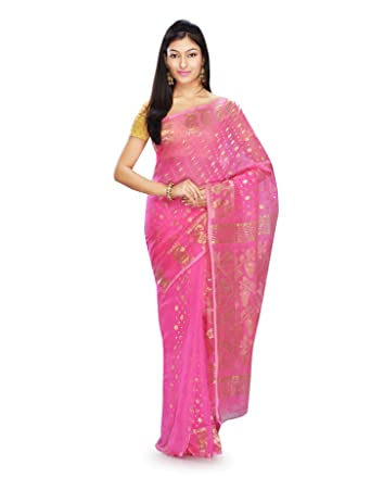 2e3653607c47e Mayurakshi Women s Pure Cotton Pink Dhakai Jamdani Embroidered Saree Partywear  Saree Wedding Saree