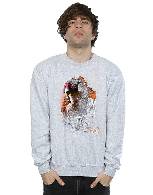 Star Wars Hombre The Last Jedi PoE Dameron Brushed Camiseta tmpT9e
