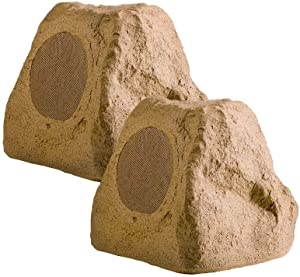 """OSD Audio 5.25"""" 100W Outdoor Rock Speaker - Weather Resistant Stereo, Pair, Sandstone Canyon Brown - RX550"""