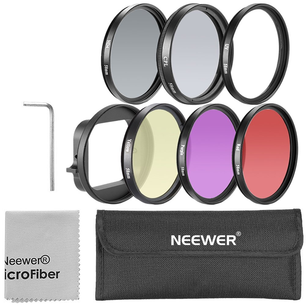 Neewer 58mm Filter Kit for Gopro Hero 3: (1)58mm Lens Filter Ring Adapter + (6) Filters(Red + Yellow + Purple + UV + CPL + ND4) + (1) Microfiber Cleaning Cloth + (1) Filter Carry Pouch