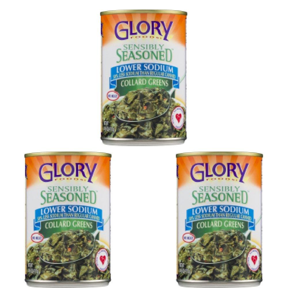 Glory Foods Simply Seasoned Collard Greens, 15 oz - Pack of 3 by Glory Foods