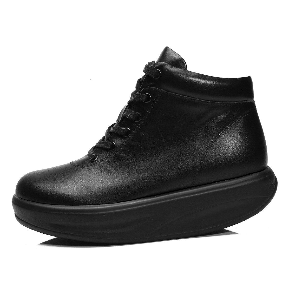 RoseG Women's Sneakers Leather Lace up Platform Sneakers Women's Ankle Boots B079FVXSPB 9 B(M) US|Black 16538c