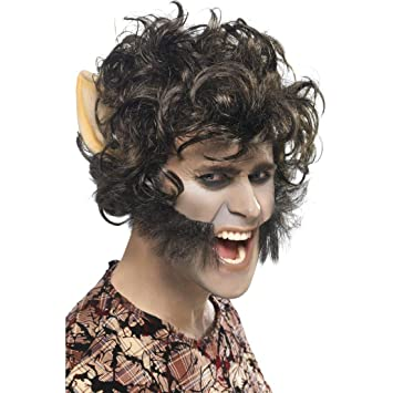 Peluca de hombre lobo con patillas y orejas Caperucita Roja carnaval bestia