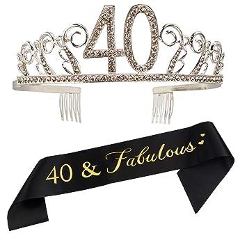 Amazon.com: Tiara de 40 cumpleaños y cinta – 40 y fabulosa ...
